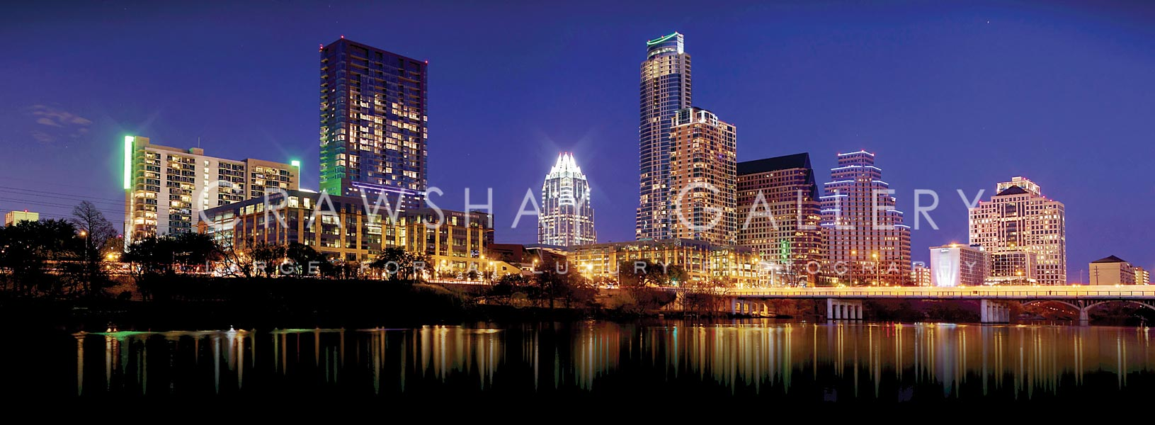 Austin TX Skyline reflecting in Ladybird Lake