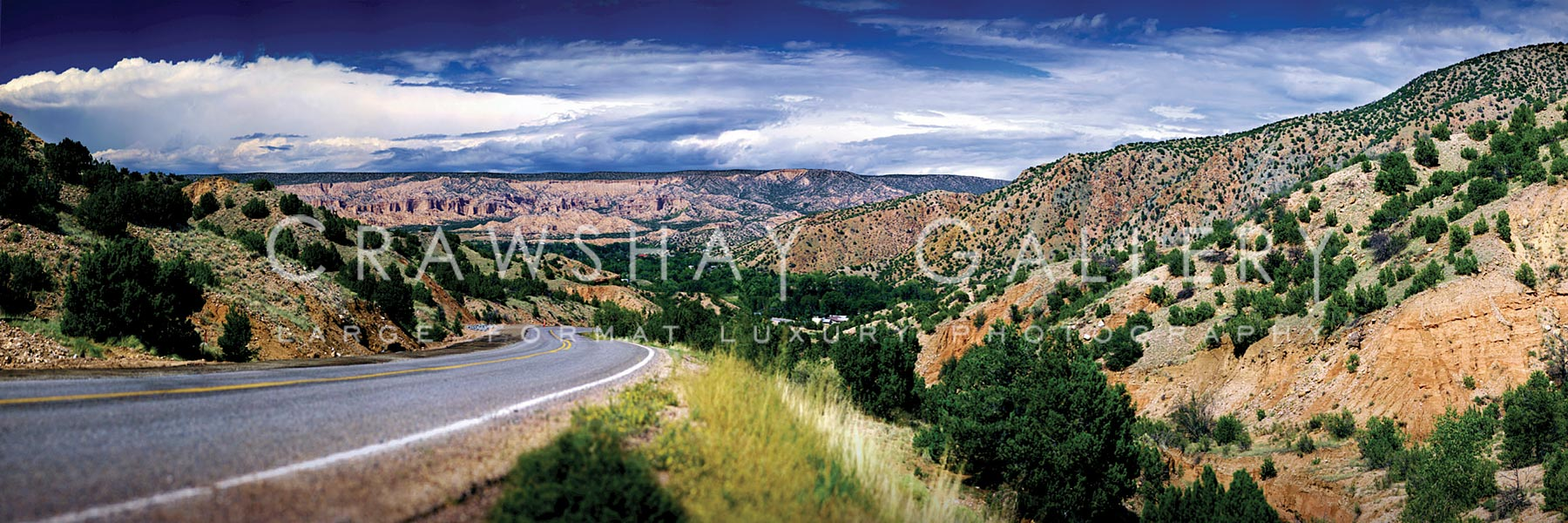 Empty Highway, Distant Mountains - Chimayo New Mexico